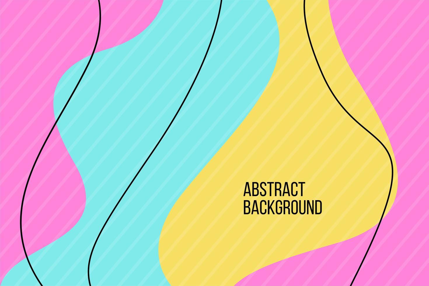 abstraktes rosa, gelbes und blaues flaches flüssiges Design vektor