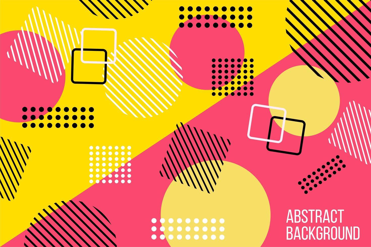 abstrakt platt rosa och gul geometrisk design vektor