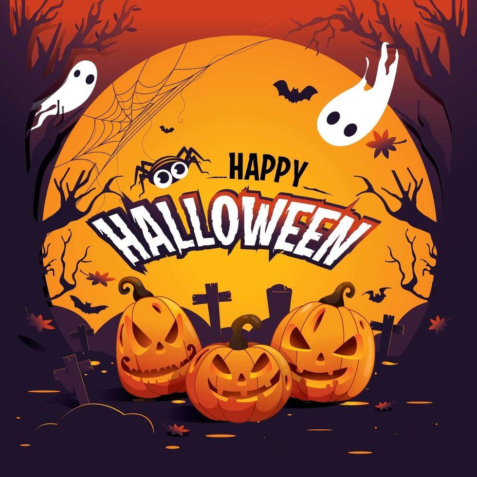spöklik glad halloween bakgrund vektor