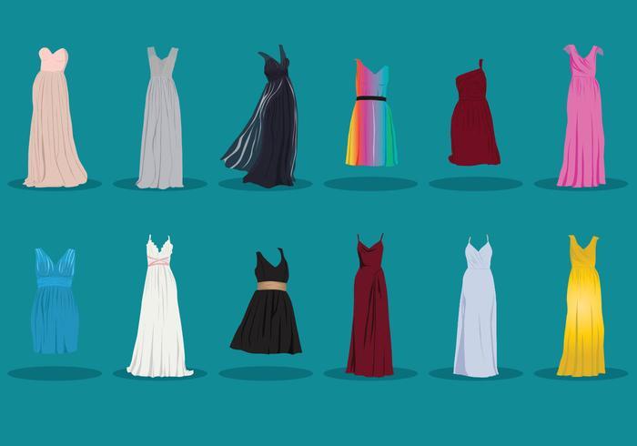Samling av brudtärna klänning vektor