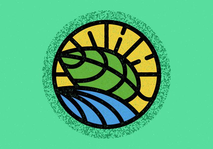 Minimalistisk Leaf Badge vektor