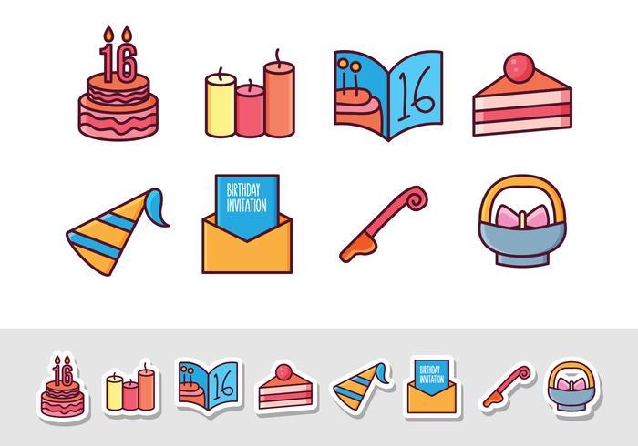 Freie Geburtstags-Aufkleber-Ikonen vektor