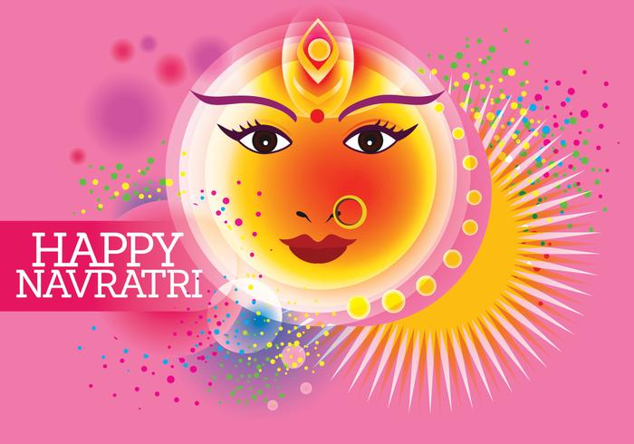 Vektor für Shubh Navratri oder Durga Puja mit Pastellfarben Hintergrund