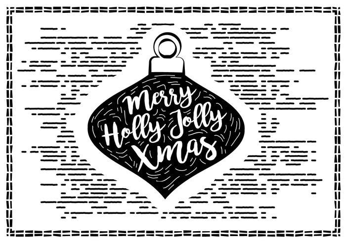Gratis Vintage Hand Drawn Christmas Card Vector