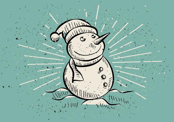 Freier Weinlese-Hand gezeichneter WeihnachtsSchneemann-Hintergrund vektor