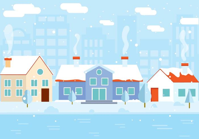 Free Vector Winter Gebäude