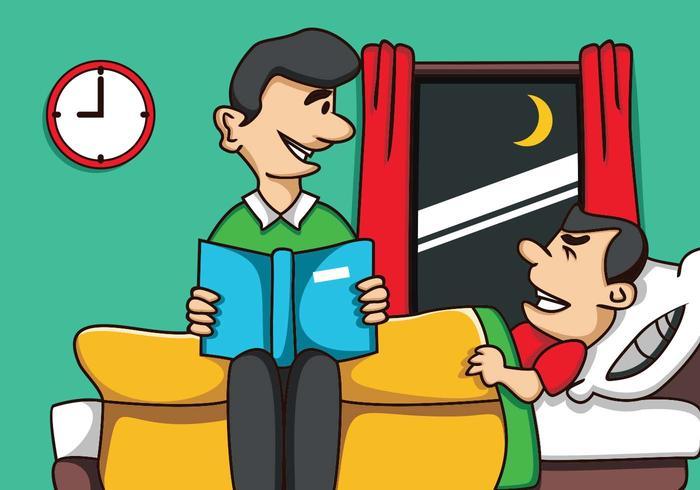 Fadern berättar för sonen innan sömnen vektor