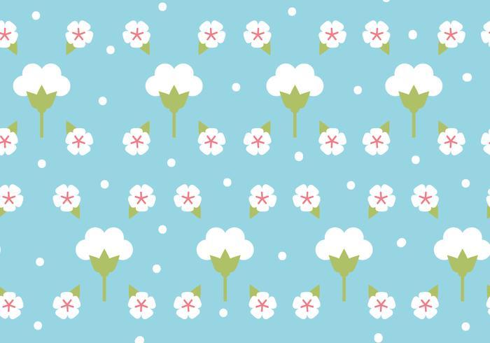 Flat Design Bomull Blommönster vektor