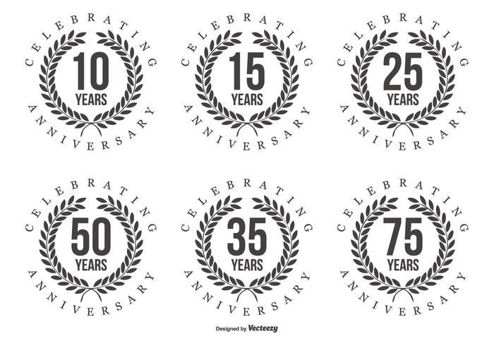 Retro årsdag etiketter vektor