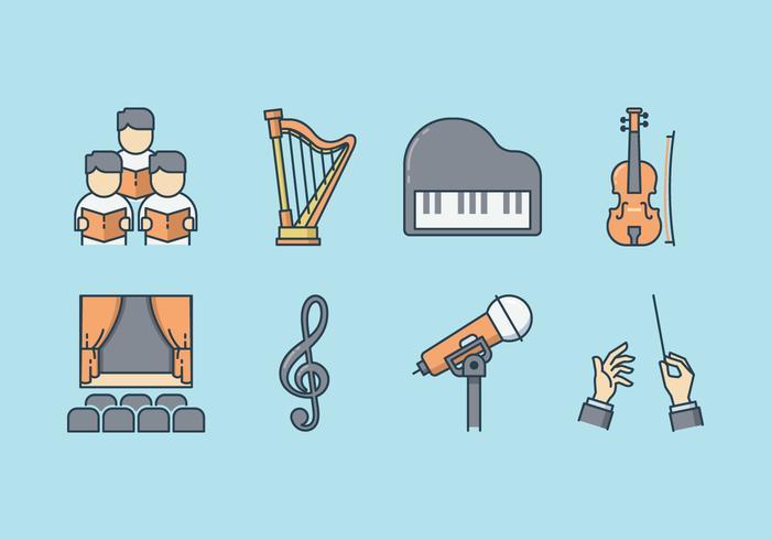 Kostenlose musikalische Performance Icons vektor