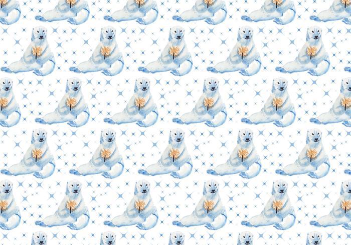 Mönster med söt isbjörn fri vektor
