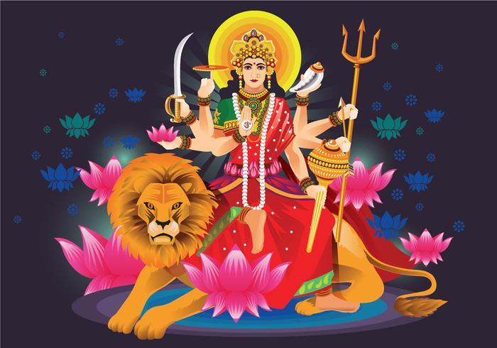 Vektor-Illustration der Göttin Durga in Subho Bijoya vektor