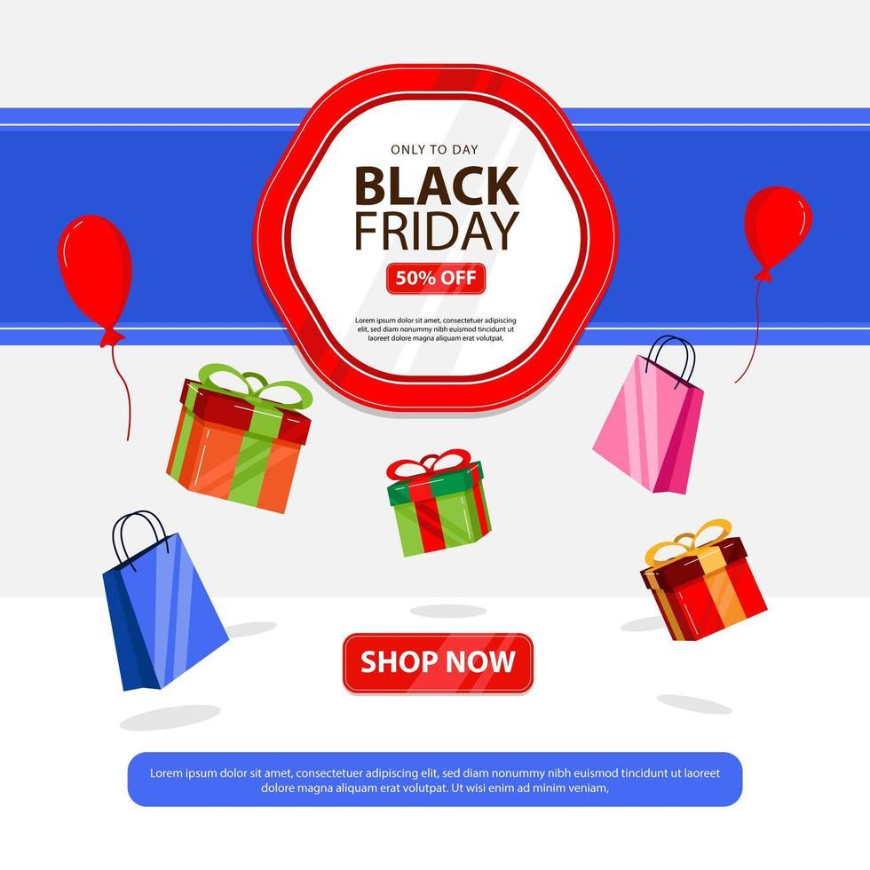 schwarzer Freitag Banner mit Box Geschenk vektor