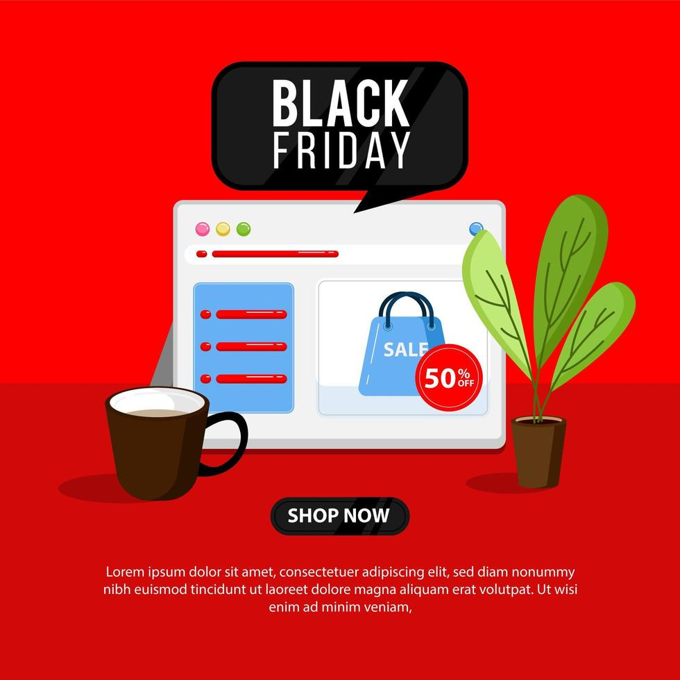 schwarzer Freitag Banner mit Online-Shop und Laptop vektor