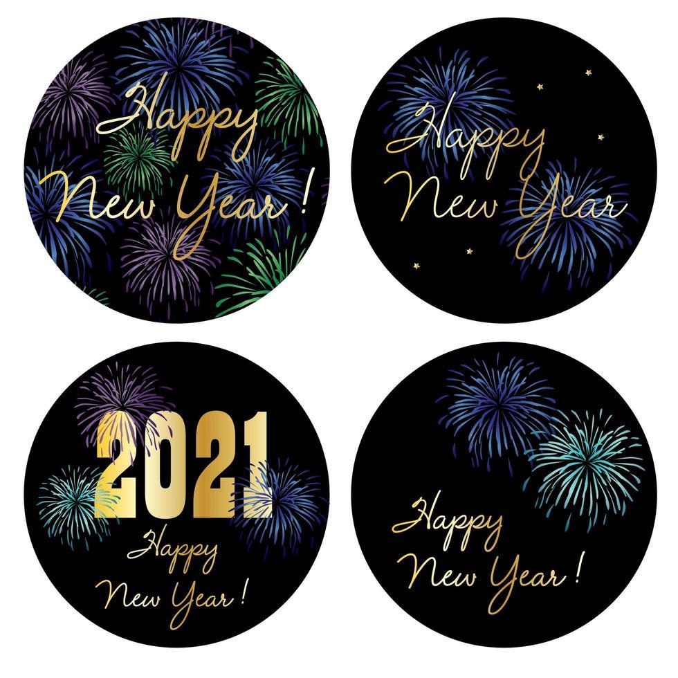 2021 Frohes Neues Jahr Kreis Grafiken mit Feuerwerk vektor