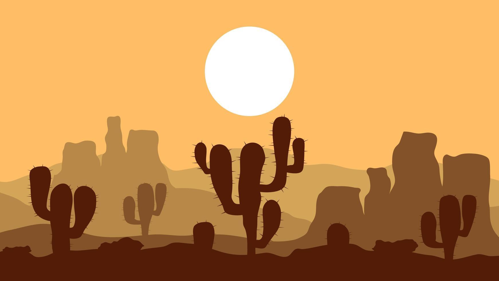 öken solnedgång lanscape vektor