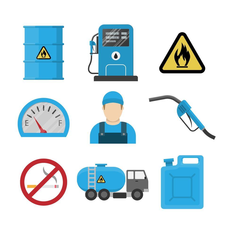 Tankstelle flaches Design Icon Set vektor
