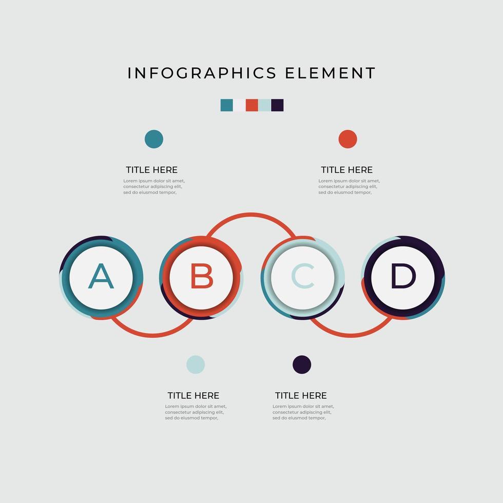Infografik mit 4 Buchstaben Option Timeline Kreisdiagramm vektor