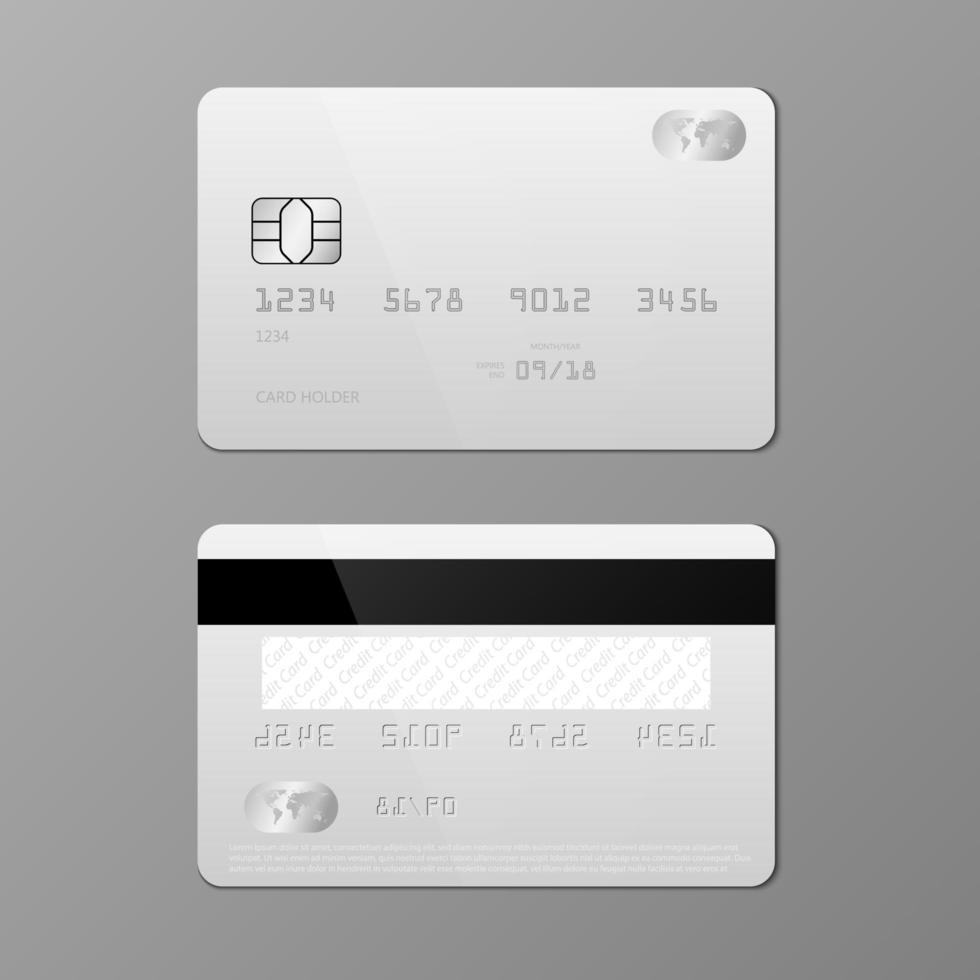 realistische weiße Kreditkartenmodellvorlage vektor