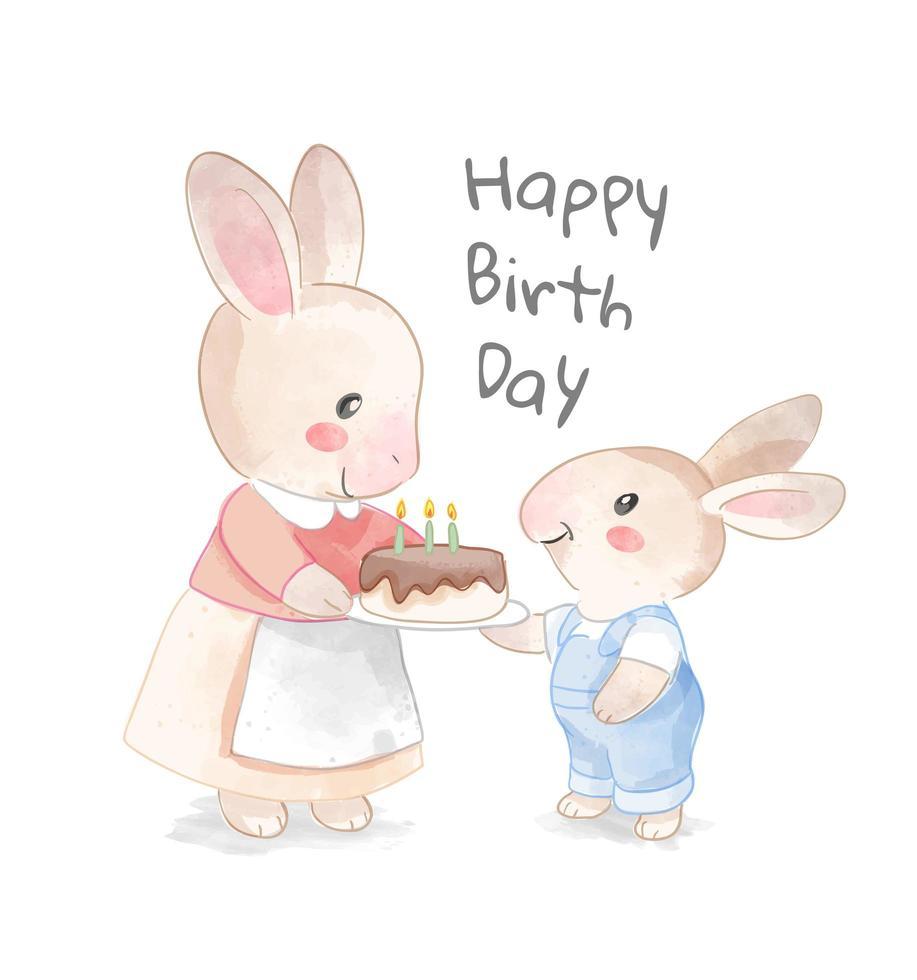 Alles Gute zum Geburtstag Design mit Mutter und Sohn Kaninchen Familie vektor