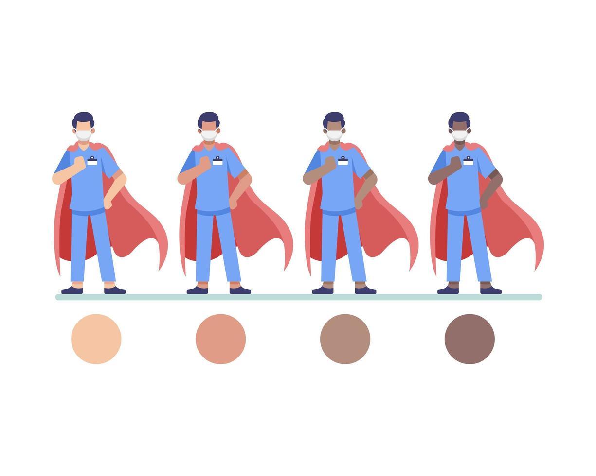 Superhelden Arzt, medizinischer Arbeiter oder Krankenschwester Charaktere vektor