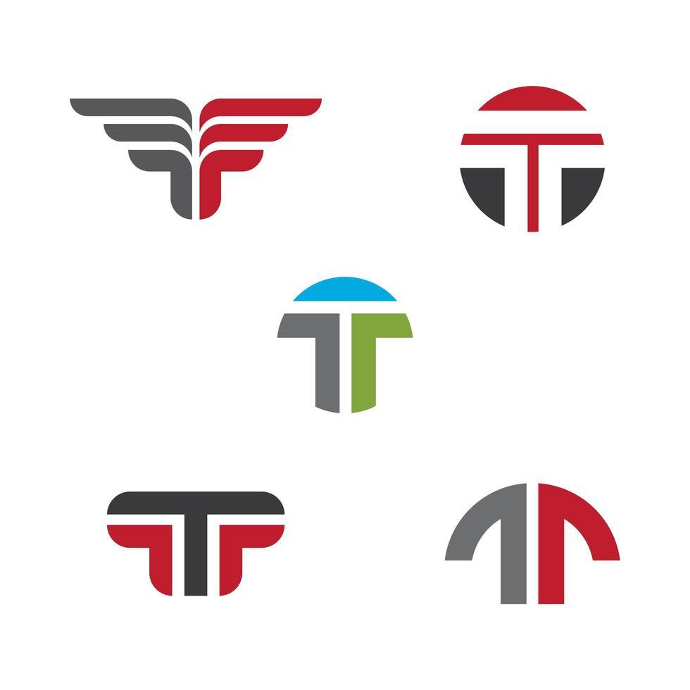 Set Buchstabe t Logo gesetzt vektor