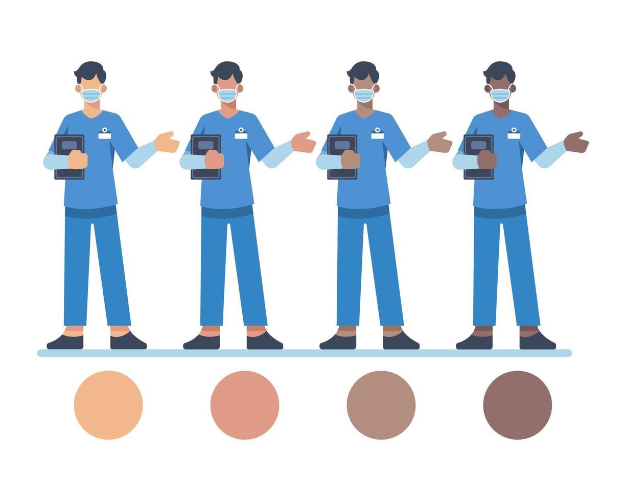 männliche Krankenschwesterfiguren, die Gesichtsmasken tragen vektor
