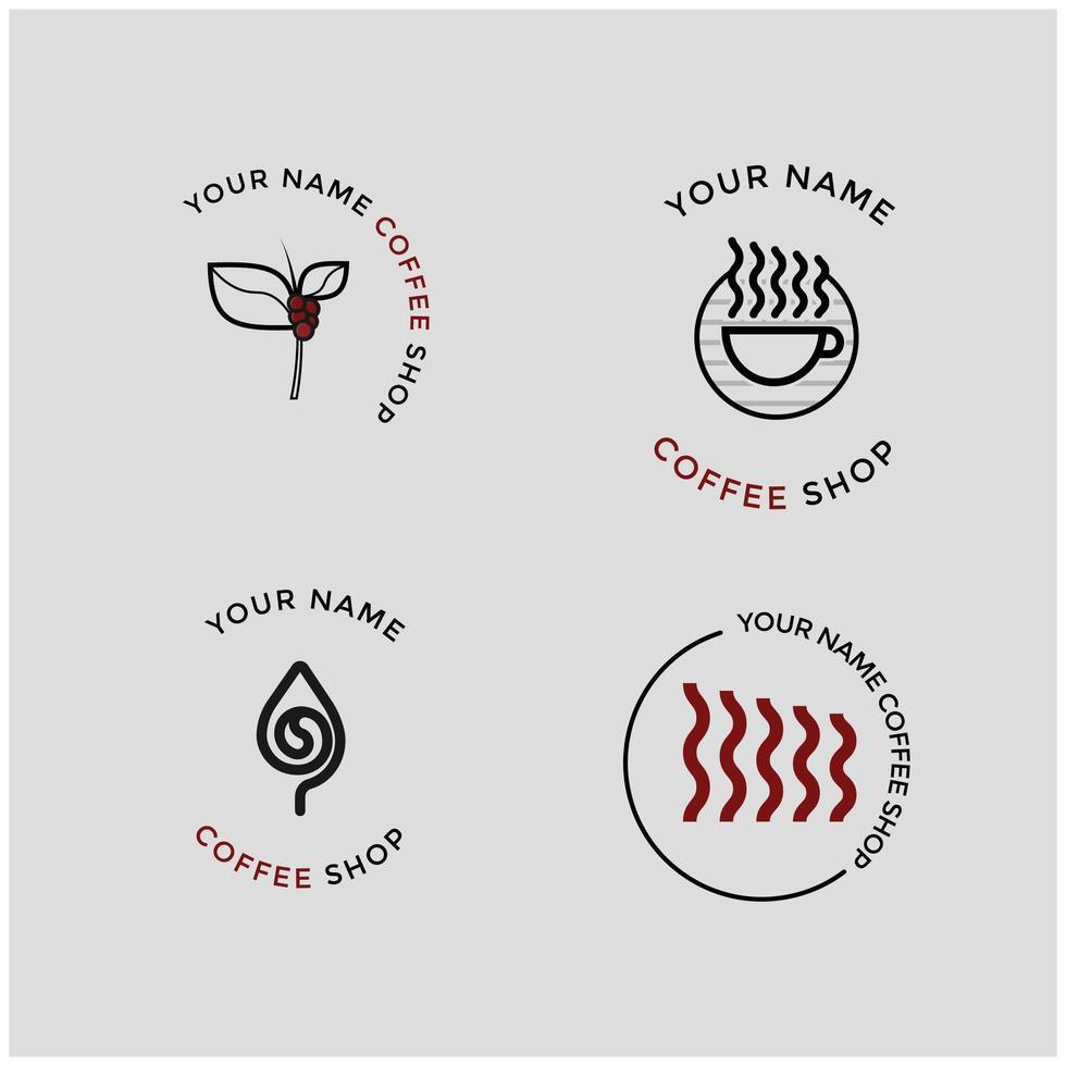 kaffebönor kaffebutik logotyp samling vektor