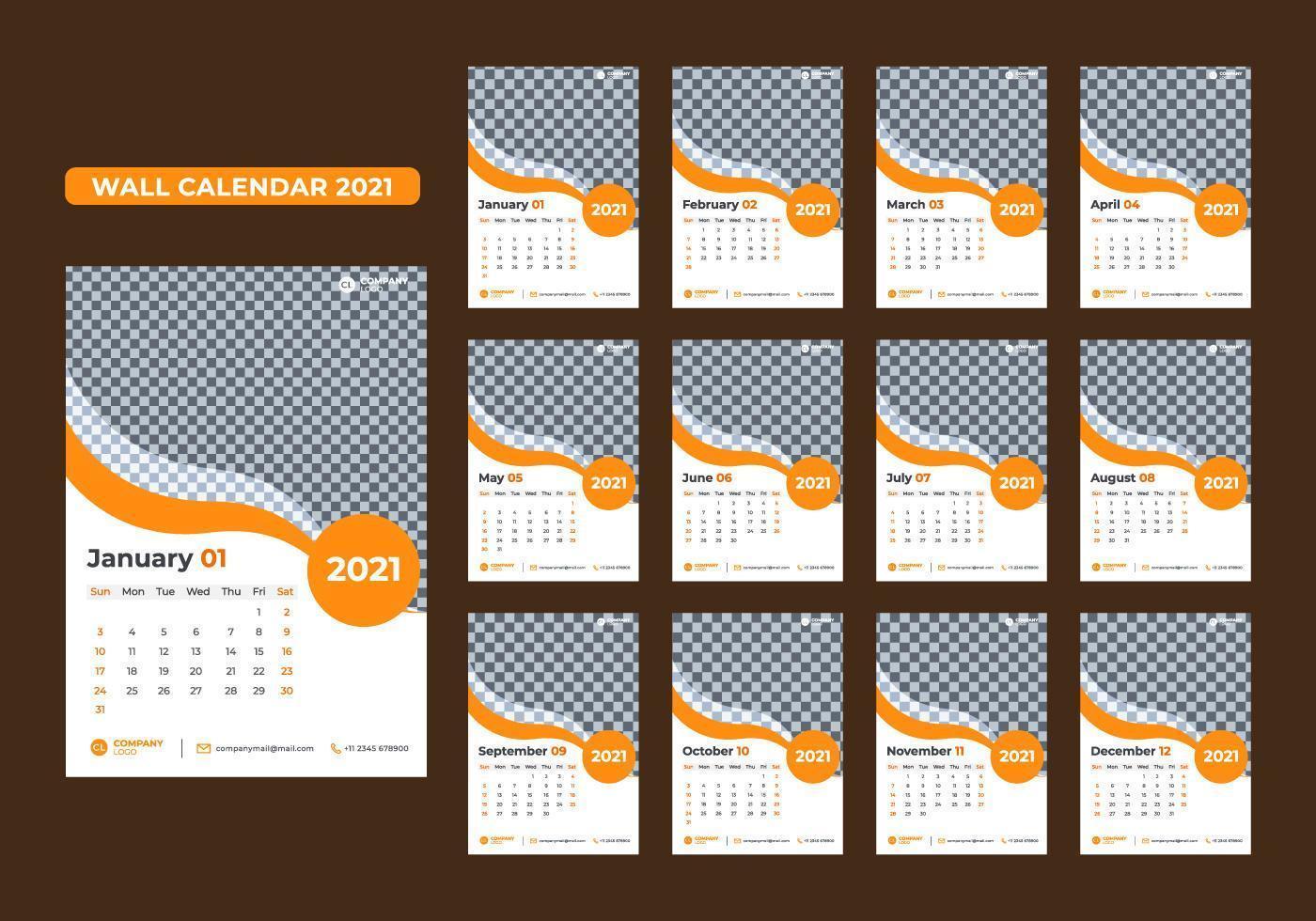 Satz von 12-Monats-Wandkalendervorlagen für 2021 vektor
