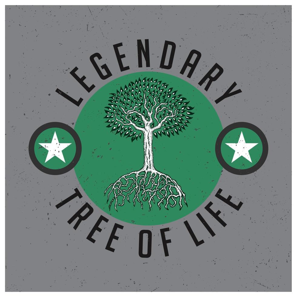 legendärer Baum des Lebens T-Shirt Design vektor