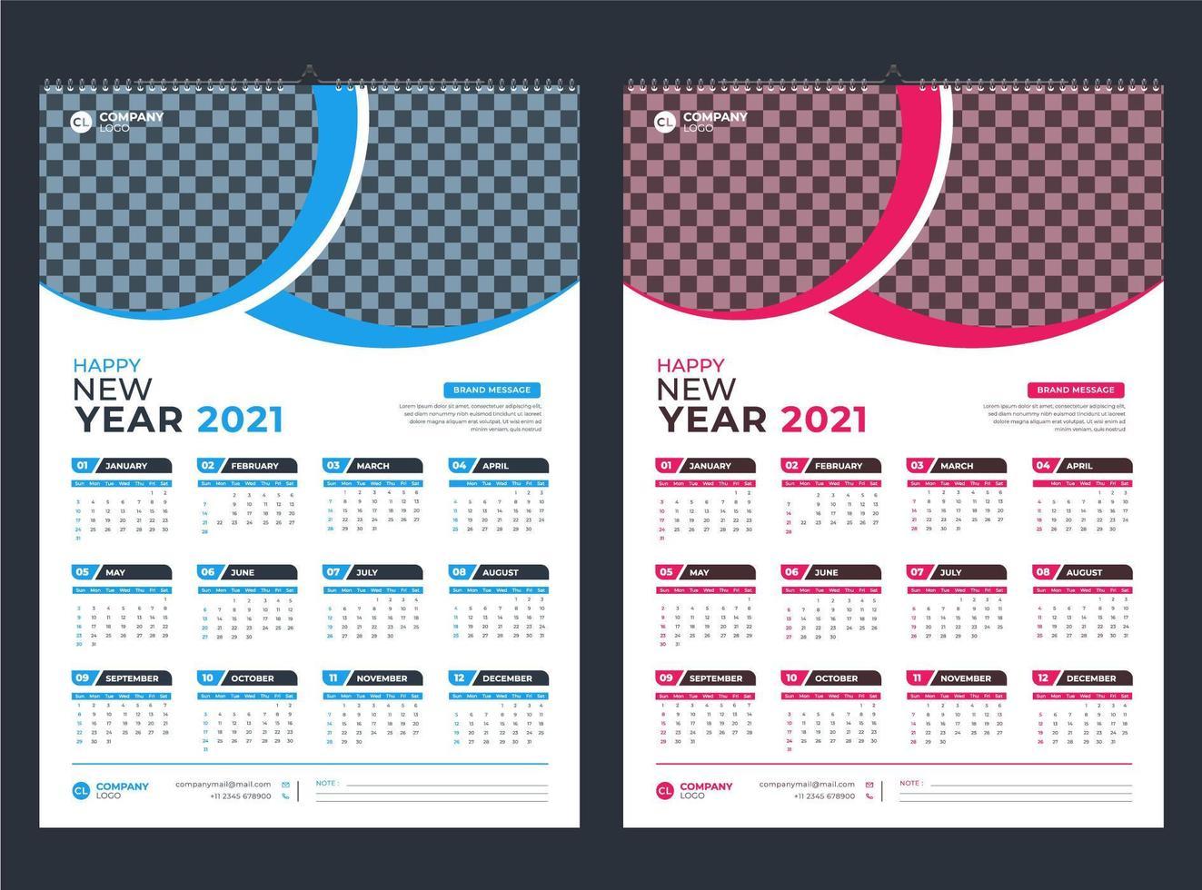 blau und pink einseitiger Wandkalender 2021 vektor