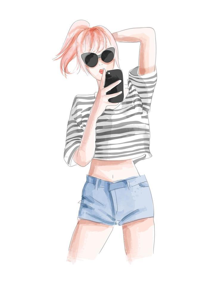 süßes Mädchen, das selfie Karikatur im Aquarellstil nimmt vektor