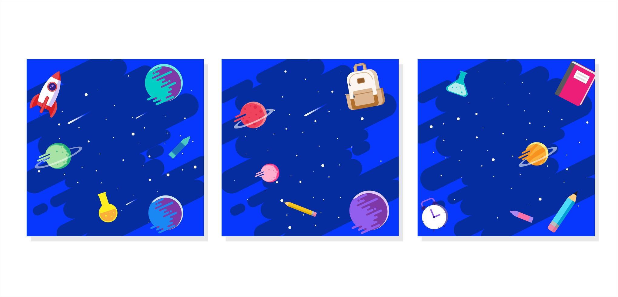 Profilrahmen mit Weltraumgalaxienkonzept vektor