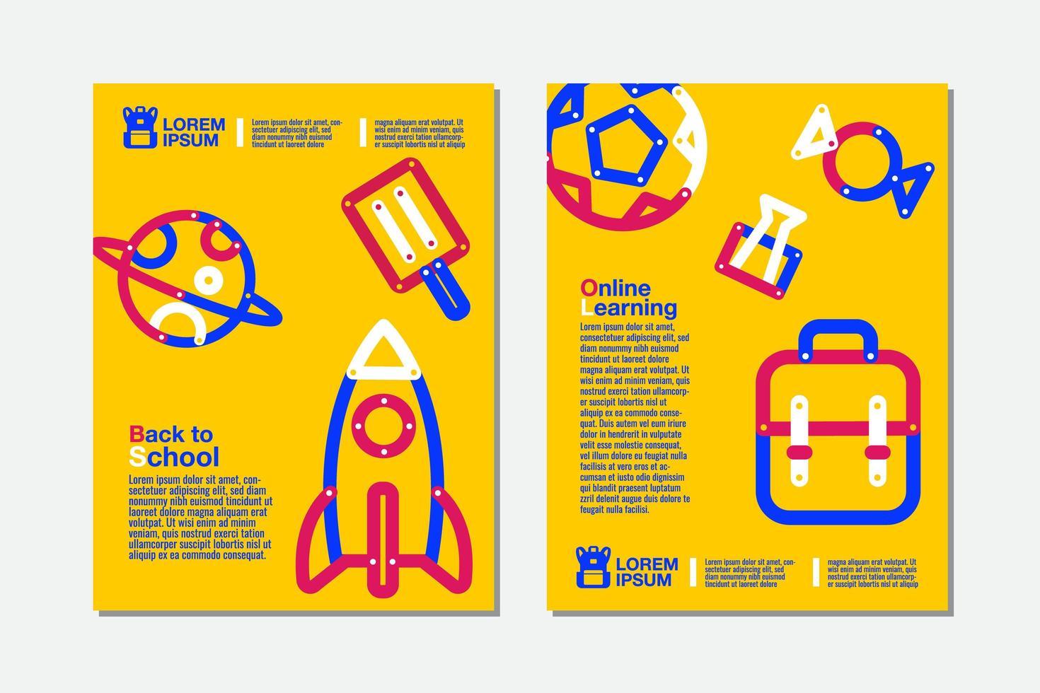 zurück in die Schule, online lernen gelbe Flyer Set vektor