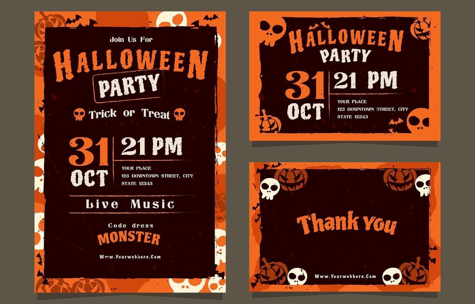 Kommen Sie und nehmen Sie an unserer Halloween-Partyeinladung teil vektor