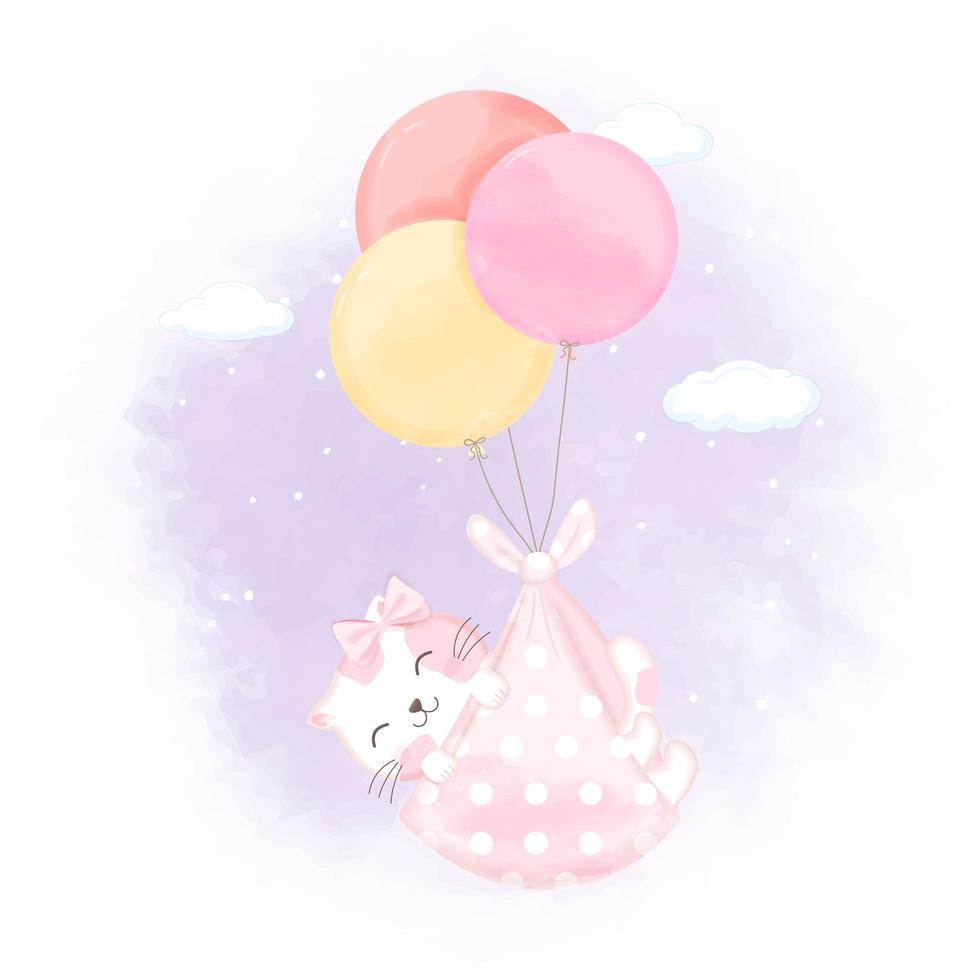 Kätzchen, das in der Decke schwimmt, die an Ballon befestigt wird vektor