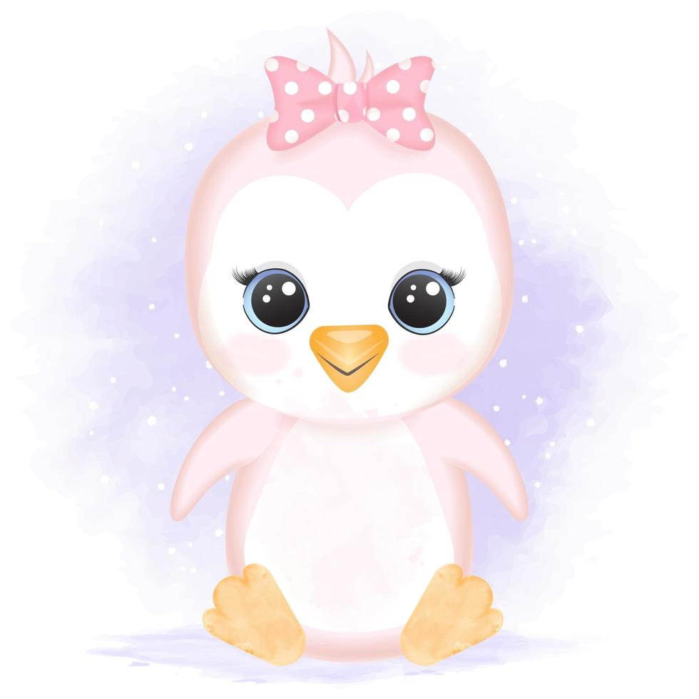 Baby-Pinguin im Aquarellstil vektor