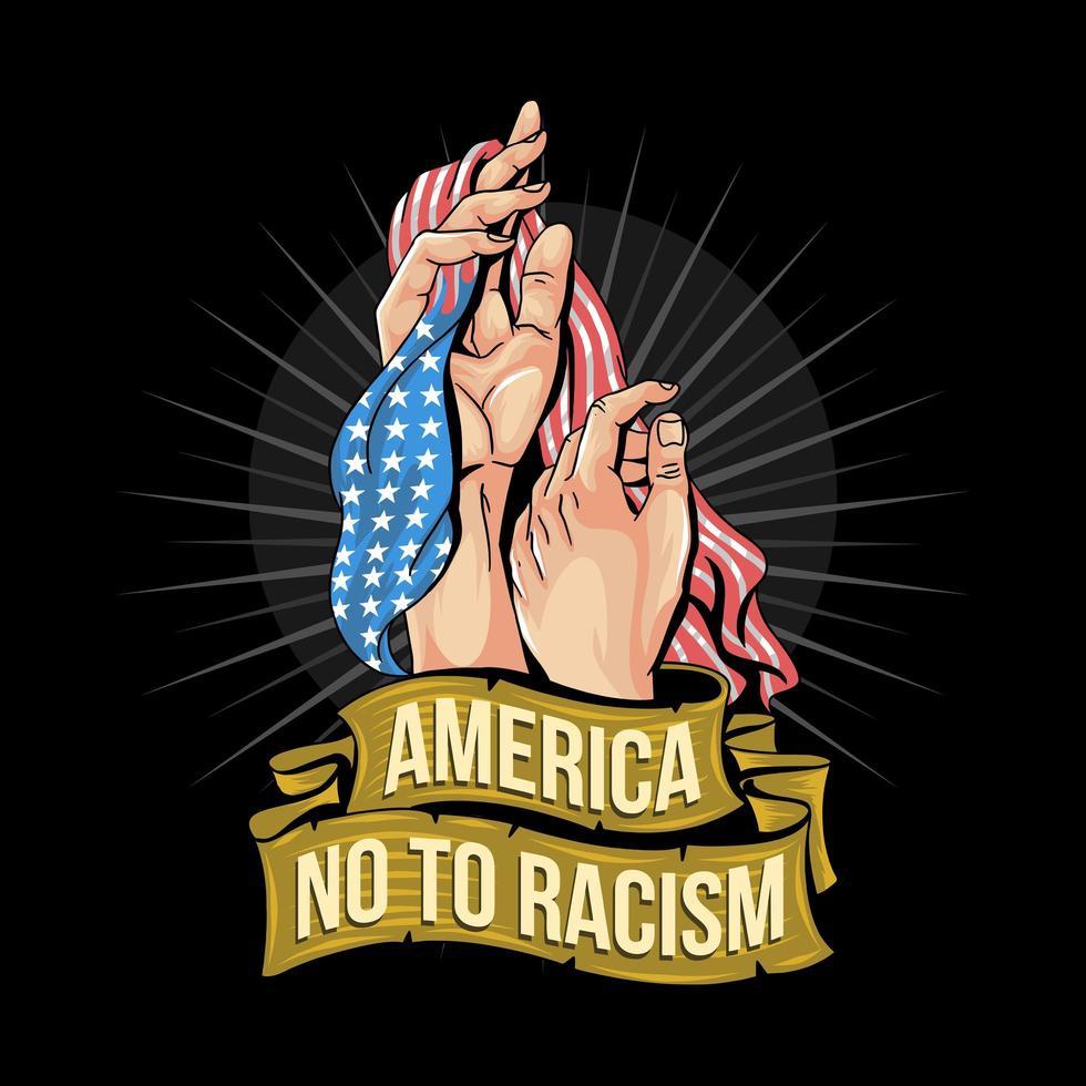 nej till rasismdesign med USA-flaggan vektor