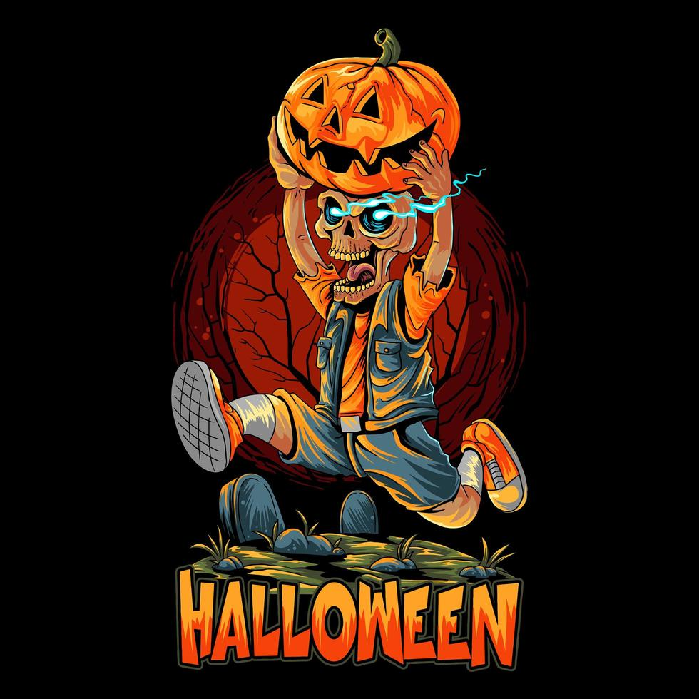 Halloween-Zombie läuft mit Kürbis vektor