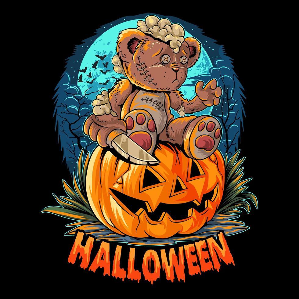 Halloween Teddybär mit Messer auf Kürbis sitzen vektor
