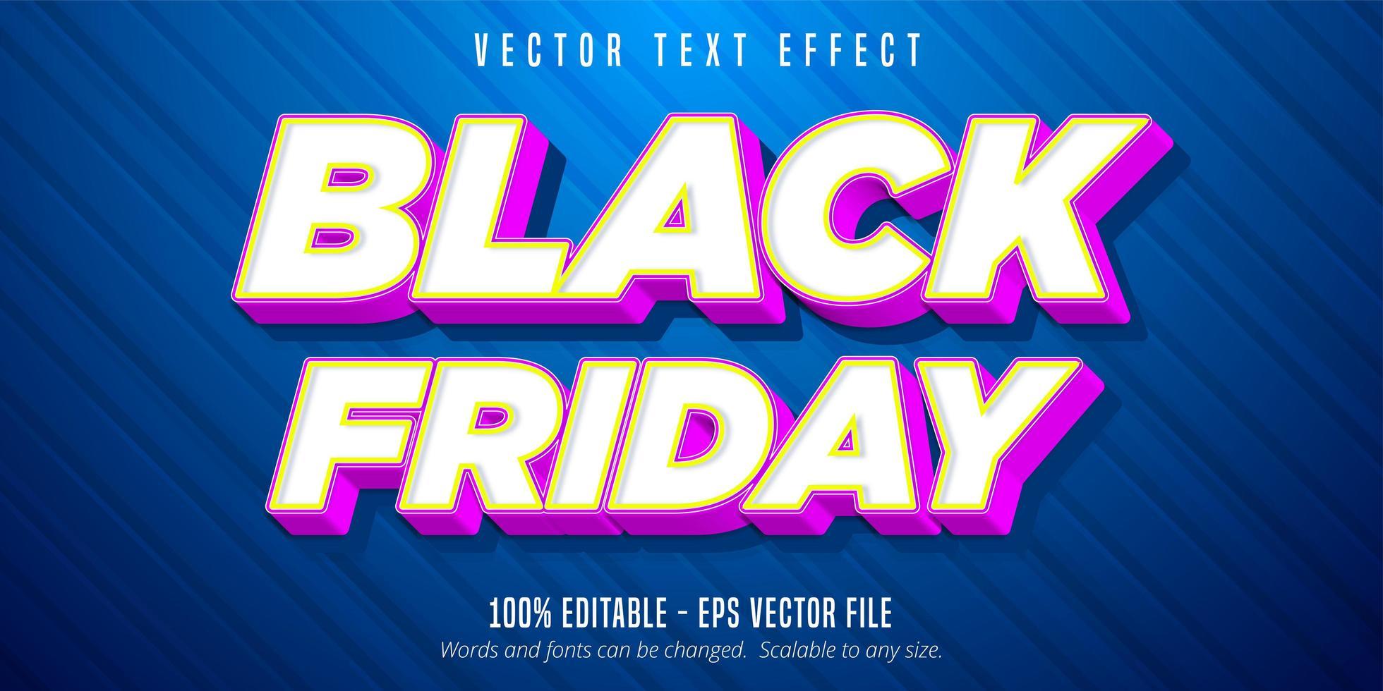 svart fredag tecknad stil redigerbar texteffekt vektor