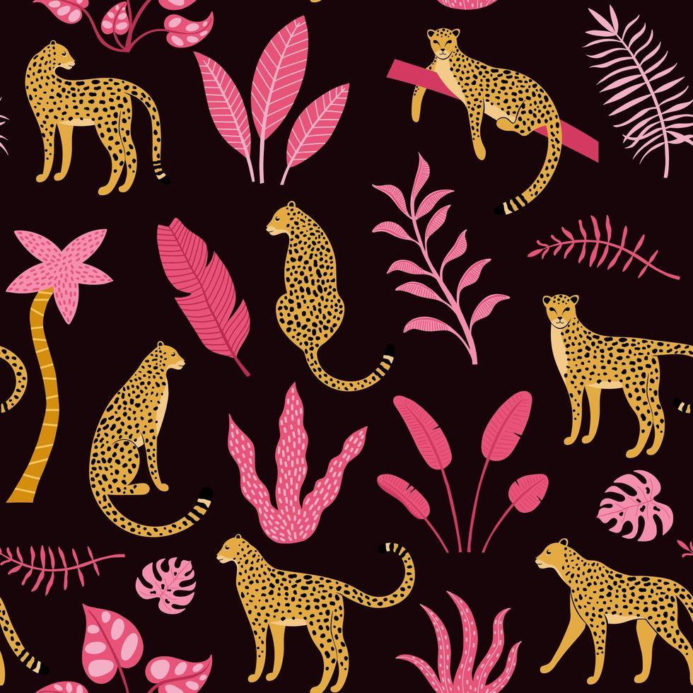 handgezeichnetes nahtloses Muster mit Leoparden und Palmen vektor