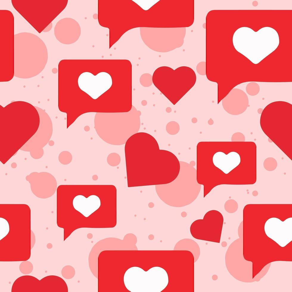 romantisches Chatbox Herz nahtloses Muster vektor