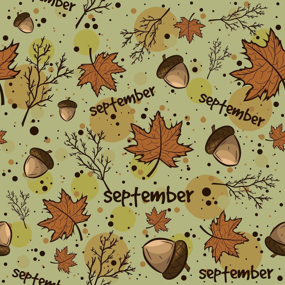 Herbstsaison Hintergrund mit Blättern, Eicheln, Zweigen vektor