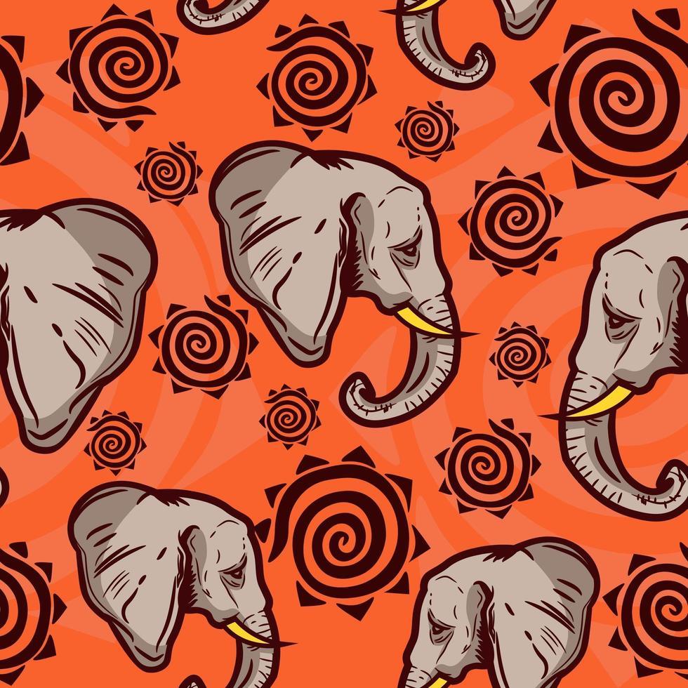 indisches und afrikanisches Kulturmuster mit Elefanten vektor