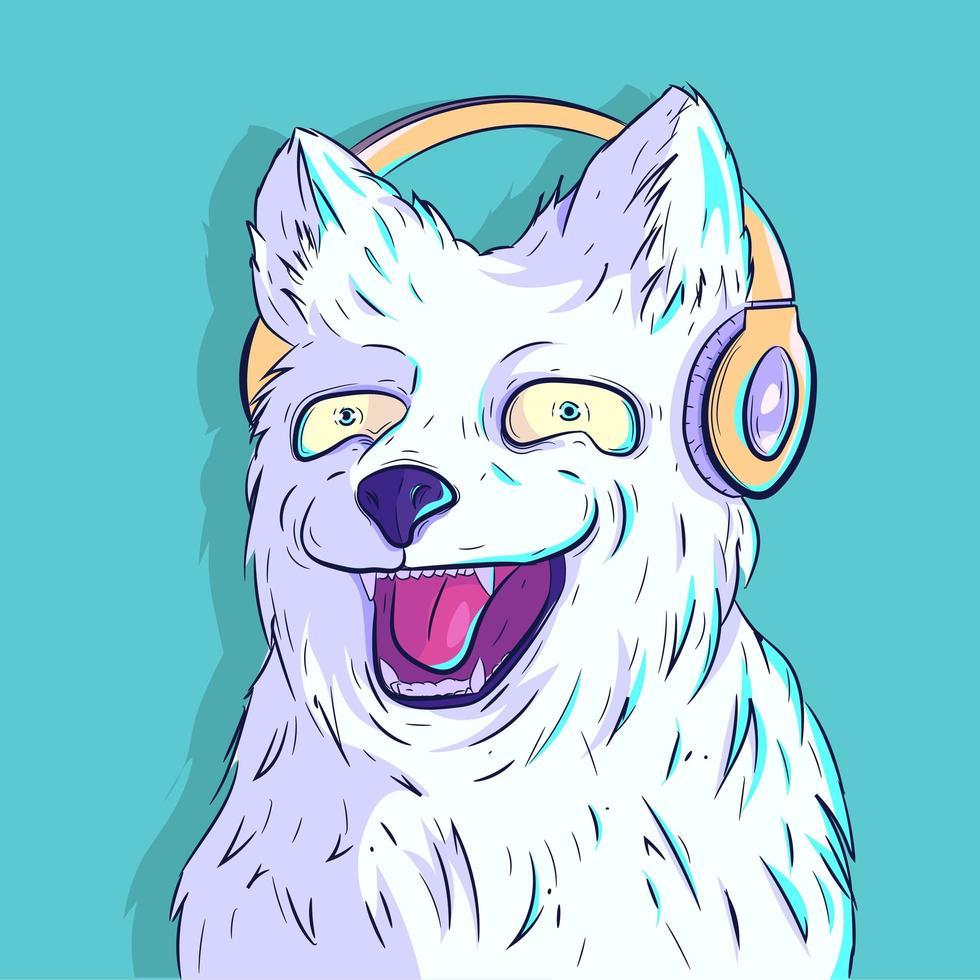 pelziger weißer Hund, der mit Kopfhörern lächelt vektor