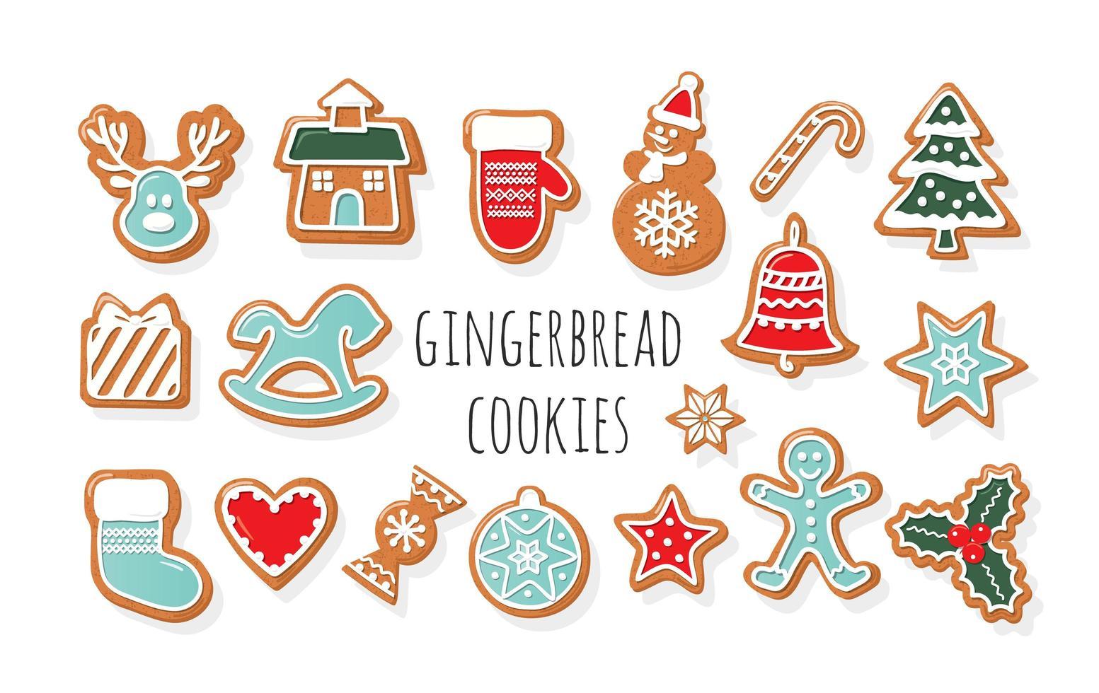 Weihnachten Lebkuchen Kekse großen Satz vektor