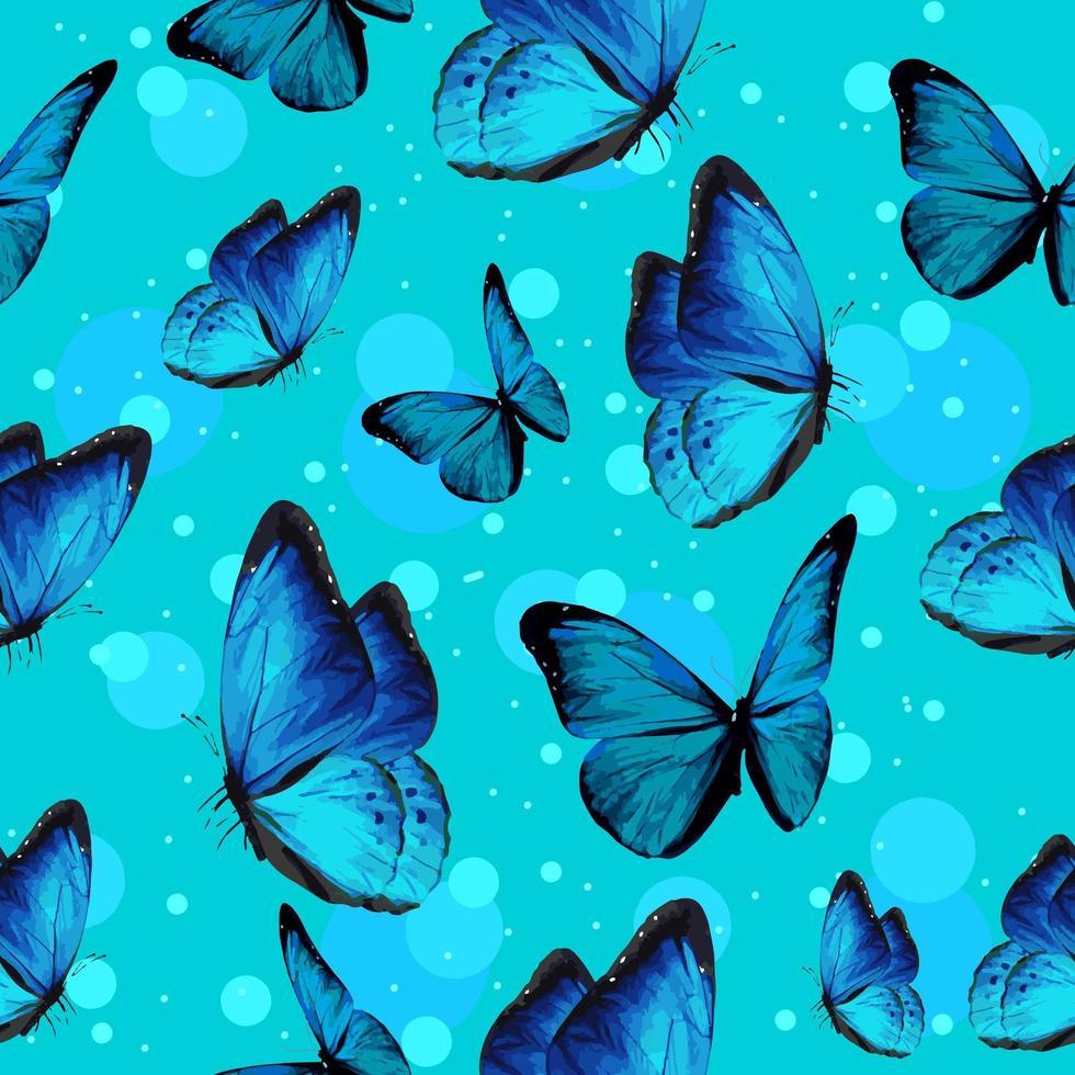 türkisfarbene Schmetterlinge und blaues Blasenmuster vektor