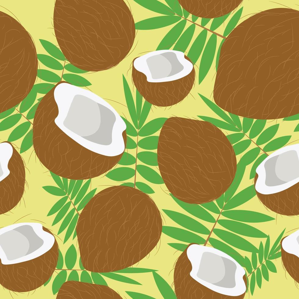 Kokosnussfrüchte und Palmblätter nahtloses Muster vektor
