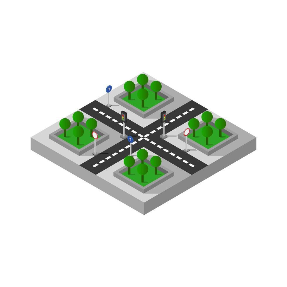 Design des isometrischen Straßenkreuzungselements vektor